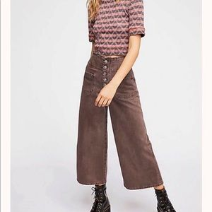 Free People wide leg button fly crops